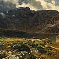 Der Hintere Murgsee. St. Galler Alpen. 1878 by Johann Gottfried Steffan