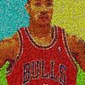Derrick Rose Skittles Mosaic by Paul Van Scott