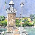 Desanzano Lighthouse and Marina on Southern coast of Lake Garda Italy