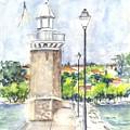 Desenzenzo Lighthouse And Marina In Italy by Carol Wisniewski