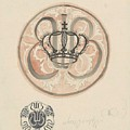 Design For A Plate With Crown And Monogram, Carel Adolph Lion Cachet, 1874 - 1945 by Carel Adolph Lion Cachet