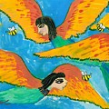 Detail Of Bird People Little Green Bee Eaters Of Upper Egypt 1 by Sushila Burgess