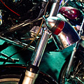 Detail Of Chrome Headlamp On Vintage Style Motorcycle by Jason Rosette