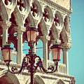 Detail Of Lamp And Columns In Venice. Vertically.  by Jaroslav Frank