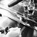 Detail Of Making Espresso Coffee With Machine Bw by Jacek Malipan
