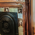 Detail Of Wood Carving And Tiles - Historic Fireplace by Phyllis Taylor