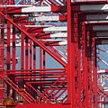 Detail View Of A Row Container Loading Cranes by Yali Shi