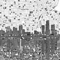 Detroit Skyline Map 5 by Bekim Art
