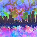 Detroit Skyline Watercolor 1 by Bekim Art