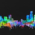 Detroit Skyline Watercolor 3 by Bekim Art
