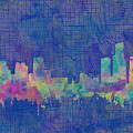 Detroit Skyline Watercolor Blue 3 by Bekim Art
