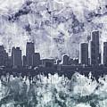 Detroit Skyline Watercolor Grunge by Bekim Art