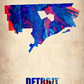 Detroit Watercolor Map by Naxart Studio