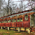 Devastation Railroad Passenger Train Car Fire Art by Reid Callaway