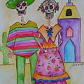 Dia De Los Muertos Mexican Couple Diego And Frida by Pristine Cartera Turkus