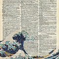 Dictionary Art - The Great Wave Off Kanagawa  by Anna W