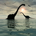 Diplodocus Dinosaurs Bathe In A Large by Mark Stevenson