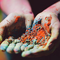 Dirty Woman's Hands With Colorful Powder by Michal Bednarek