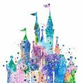 Disney Castle 2 Watercolor Print by Svetla Tancheva