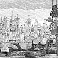 Disneyland Small World Panorama Pa Bw by Thomas Woolworth