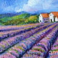 Distant  Houses And Lavender Fields by Asha Sudhaker Shenoy