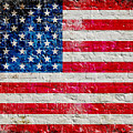 Distressed American Flag On Old Brick Wall - Horizontal by M L C
