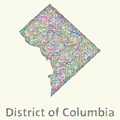 District Of Columbia Line Art Map by David Zydd