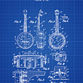 Dixie Banjolele Patent 1954 In Blue Print by Bill Cannon