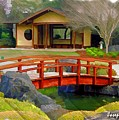 Do-00006 Cypress Bridge And Tea House by Digital Oil