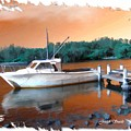 Do-00108 Boat At Sunset by Digital Oil