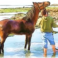 Do-00421 Washing Horse In Mina by Digital Oil