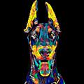 Doberman Dog Breed Head Breed Pet True Friend Color Designed by Super Katillz