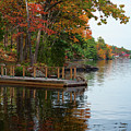 Dock On Lake In Fall by Les Palenik