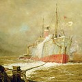 Docking A Cargo Ship by William Lionel Wyllie