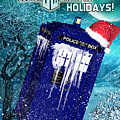 Doctor Who Tardis Holiday Card by Alicia Hollinger