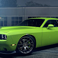 Dodge Challenger S R T Hellcat Green by Movie Poster Prints