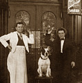 Dog Sitting On A Barstool With  Bartender Circa 1910 by California Views Archives Mr Pat Hathaway Archives
