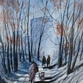Dog Walking 2, Watercolor Painting by David K Myers
