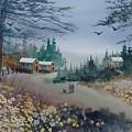 Dog Walking, Watercolor Painting  by David K Myers