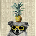 Dog With Goggles And Pineapple by Delphimages Photo Creations