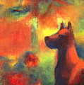 Dog With Red Flowers by Nato  Gomes