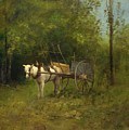 Donkey With Cart by Leon