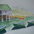Dories In Waiting by Nancy Nuce