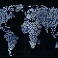 Dot Map Of The World - Blue by Michael Tompsett