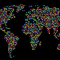 Dot Map Of The World - Multi Colours by Michael Tompsett