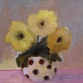 Dotted Vase With Yellow Flowers by Vesna Antic