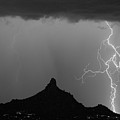 Double Lightning Pinnacle Peak Bw Fine Art Print by James BO Insogna