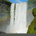 Double Rainbow By Skogafoss Waterfall by Anthony Doudt