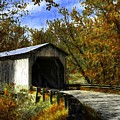Dover Covered Bridge In Autumn by Mel Steinhauer
