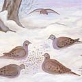 Doves In New York - Winter by Anna Folkartanna Maciejewska-Dyba